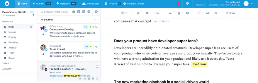 Leveraging Mention to listen to your developer audience
