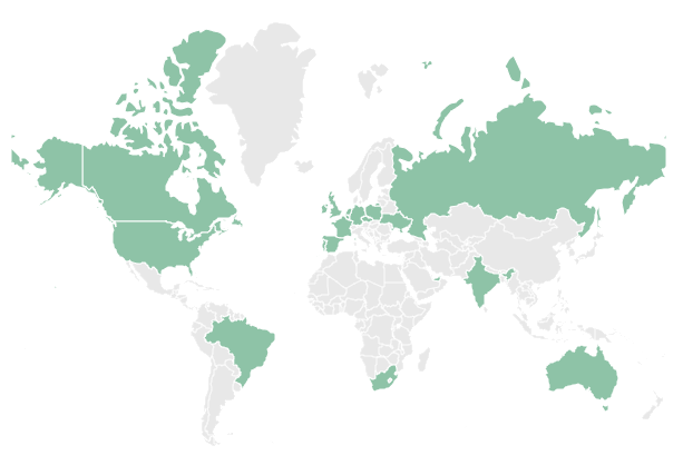 Where in the world are people located?